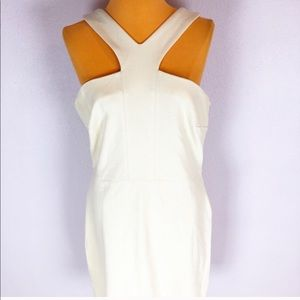 Boston Proper Cream High Neck Halter Dress Sz 12